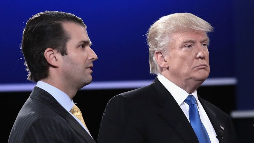 Donald Trump Jr. and President Trump are seen during the 2016 campaign after a Sept. 26 presidential debate in New York.