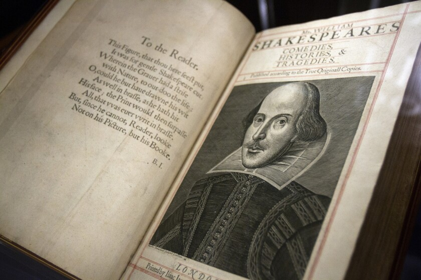 """The poet and playwright William Shakespeare is almost certainly the author of a play titled """"Double Falsehood,"""" says a new psychological and linguistic analysis. But he may have had some help. Above, an original Bard tome on display at the Huntington in 2013."""