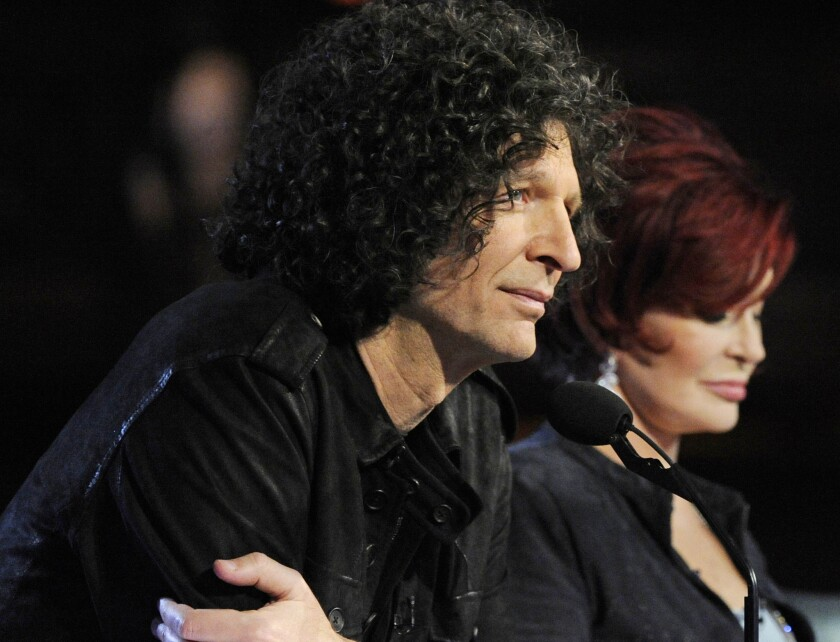 """Howard Stern and Sharon Osbourne during a taping of """"America's Got Talent."""""""