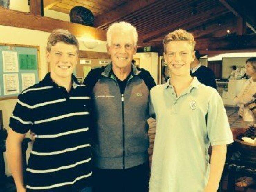 L-R: Tim Melbourne, Sportsmanship Committee Chairman Frank Smith, Scott Melbourne.