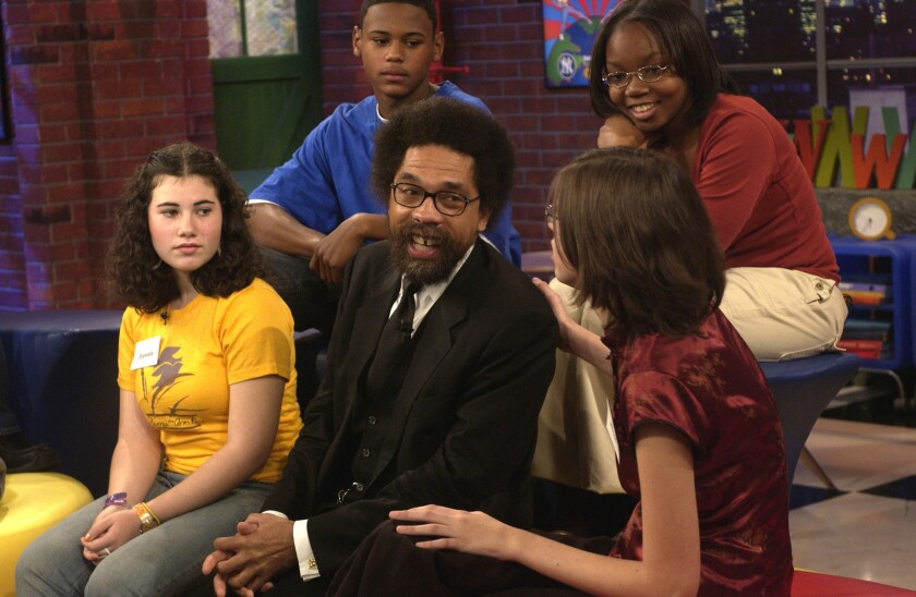 """Cornel West with a panel of teens on a 2004 episode of """"Nick News with Linda Ellerbee,"""" discussing the legacy of slavery."""