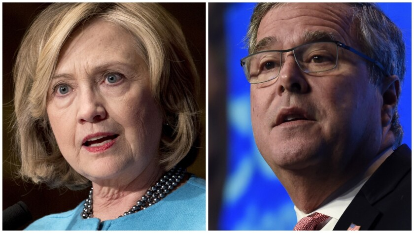 Hillary Rodham Clinton has opted for a classic front-runner's strategy while Jeb Bush has grabbed the first-mover role.