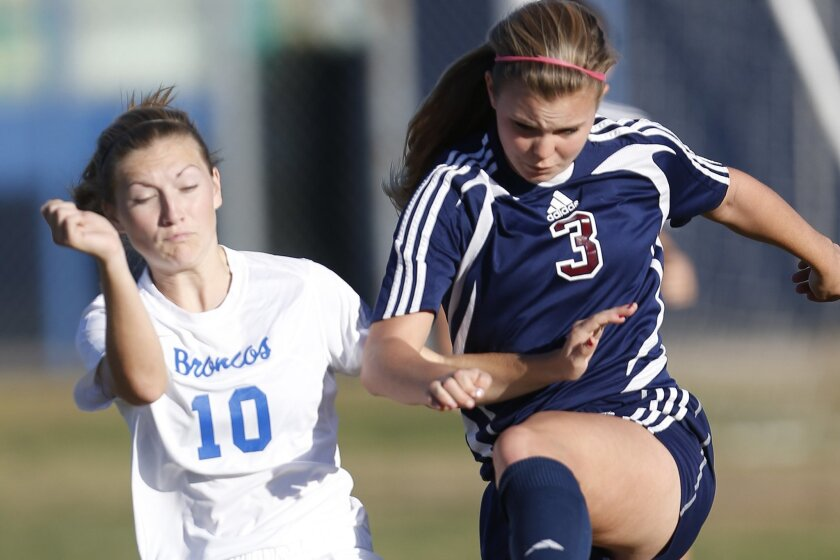 Scripps Ranch's Erica Stephan (right, shown in a game earlier this season) scored two goals in the Falcons' playoff win over Rancho Buena Vista on Friday.