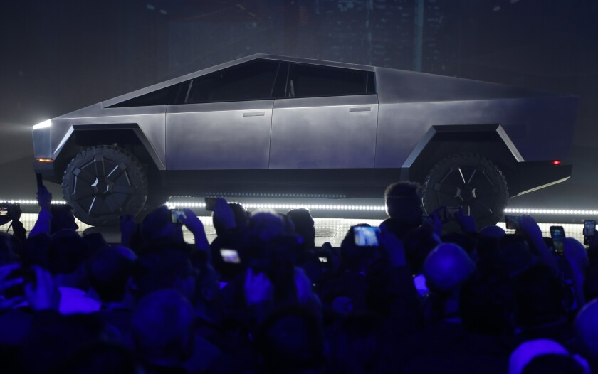 The Tesla Cybertruck unveiled at Tesla's design studio on Thursday.