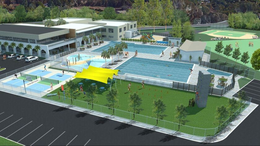 A bird's-eye view of the state-of-the-art Ann Woolley Aquatic Center, part of the La Jolla YMCA's $15.5 million expansion project, at 8355 Cliffridge Ave.