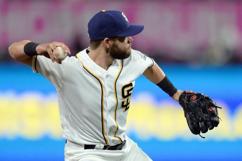 Padres third baseman Ryan Schimpf throws out Miami Marlins second baseman Miguel Rojas (not pictured) during the sixth inning last week at Petco Park.
