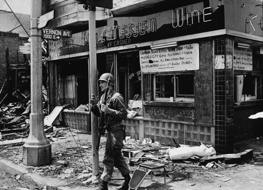 National Guardsman smokes after the Watts riots