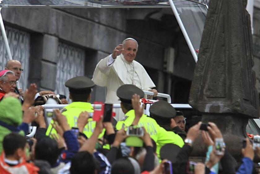 El papa Francisco en la iglesia de San Francisco en Quito (Ecuador).