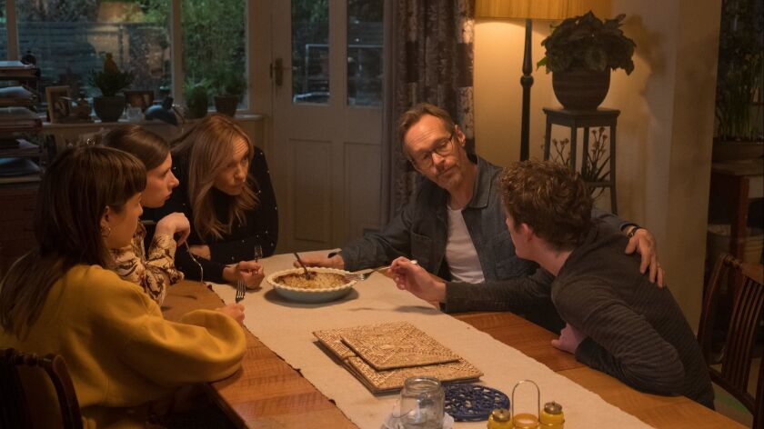 "In the ""Wanderlust"" family: from left, Emma D'Arcy, Celeste Dring, Toni Collette, Steven Mackintosh and Joe Hurst."
