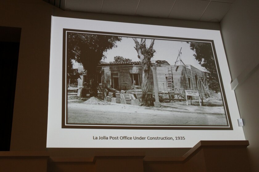 The La Jolla Historical Society gave a presentation on the history of the Wall Street Post office during a recent meeting between the Postal Service and La Jollans.