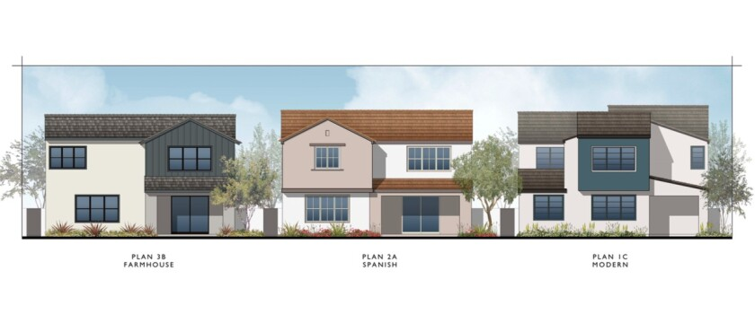 The new designs for the backs of the homes in the new PHR development.