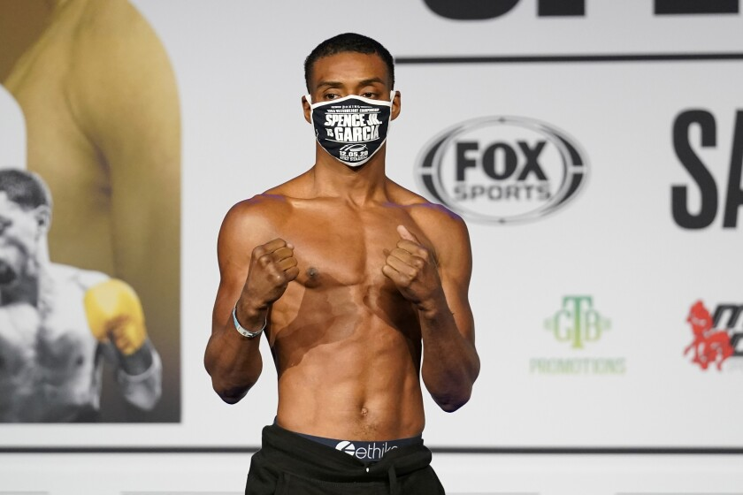 Errol Spence Jr. poses after his weigh-in Friday ahead of his welterweight title fight.