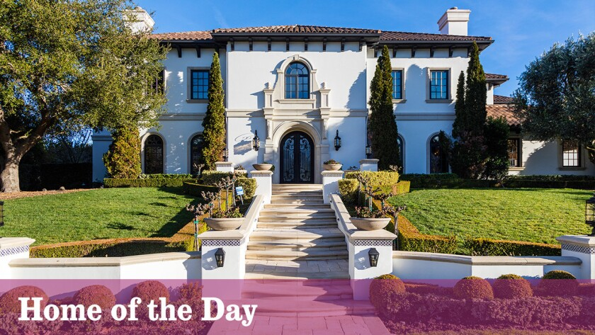 The Tuscan-inspired estate on nearly an acre in the Sherwood Country Club area of Thousand Oaks is listed for sale at $5.9 million.