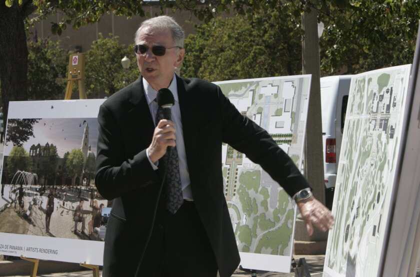 Irwin Jacobs reviews plans for turning Plaza de Panama in Balboa Park into a car-free zone.