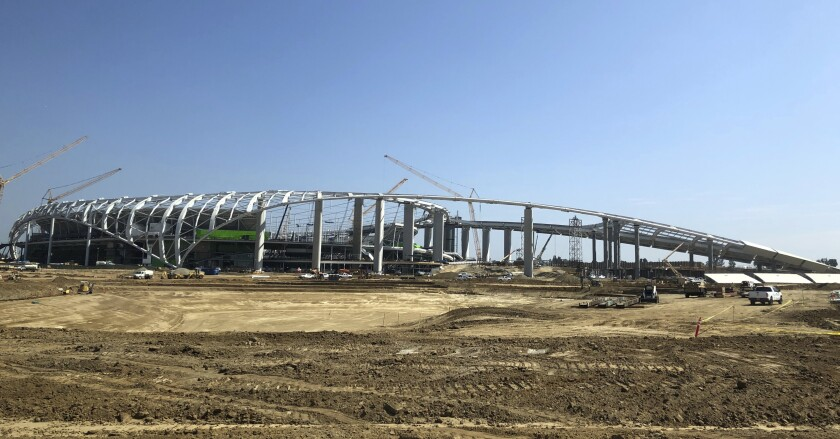 The NFL stadium under construction in Inglewood on July 30.