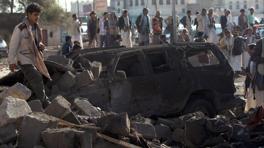 Aftermath of a Saudi airstrike in Sana, Yemen.