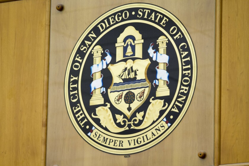 The San Diego City Seal. On Wednesday, city officials signaled support for a moratorium on rental evictions triggers by the coronavirus outbreak.