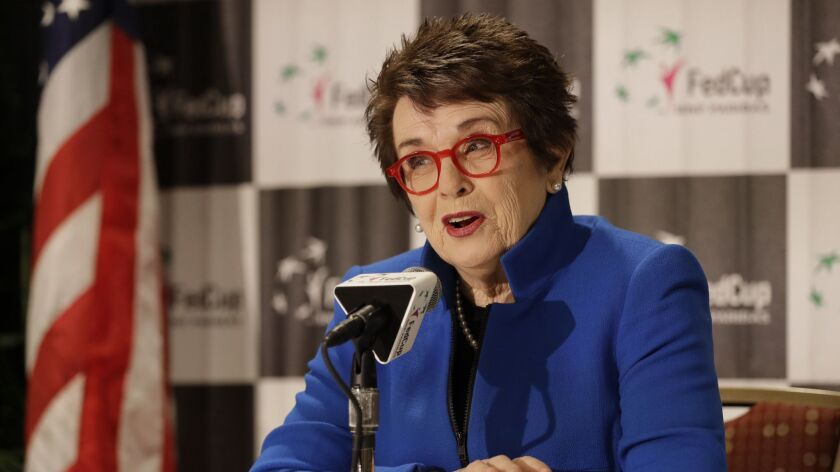 Tennis great Billie Jean King speaks to the media before a Fed Cup tennis match between the United States and Australia in Asheville, N.C., on Feb. 9.