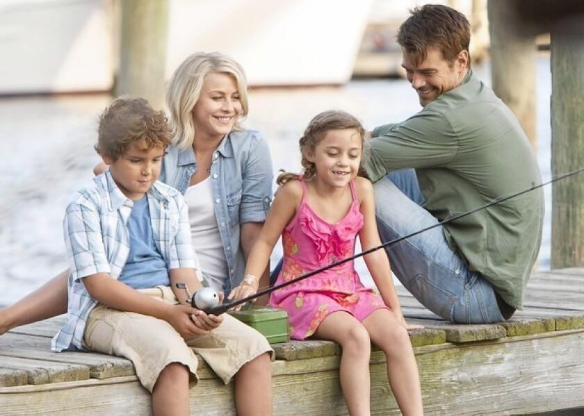 """Noah Lomax, left, Julianne Hough, Mimi Kirkland and Josh Duhamel star in """"Safe Haven."""""""