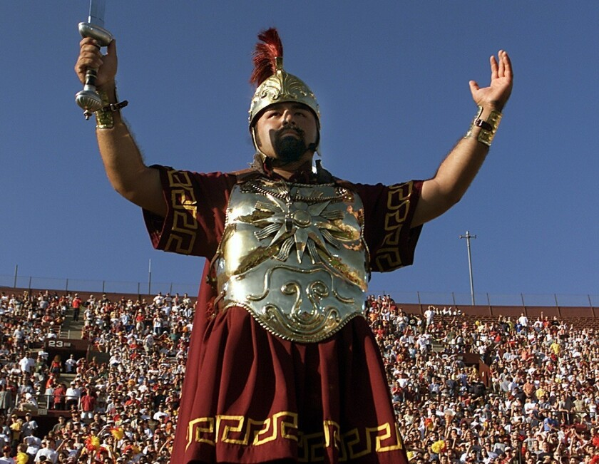 USC's marching band performs at the the Los Angeles Memorial Coliseum on Sept. 9, 2000.