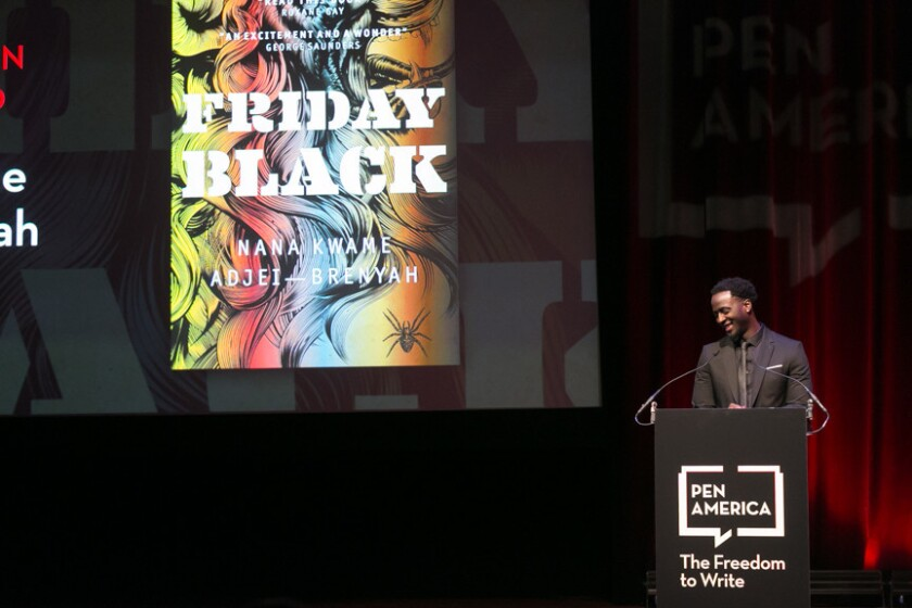 Nana Kwame Adjei-Brenyah accepts the Jean Stein Award for book of the year at the PEN America 2019 Literary Awards.