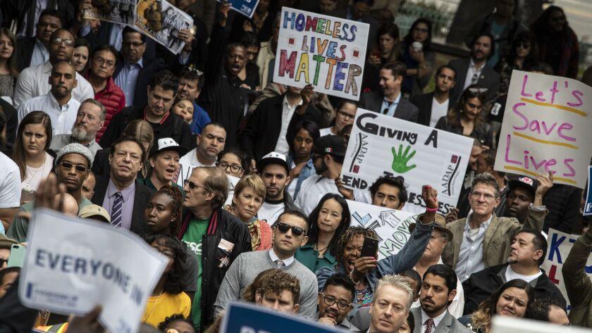 LOS ANGELES, CALIF. -- FRIDAY, MAY 18, 2018: A broad coalition of community members rally at Los An