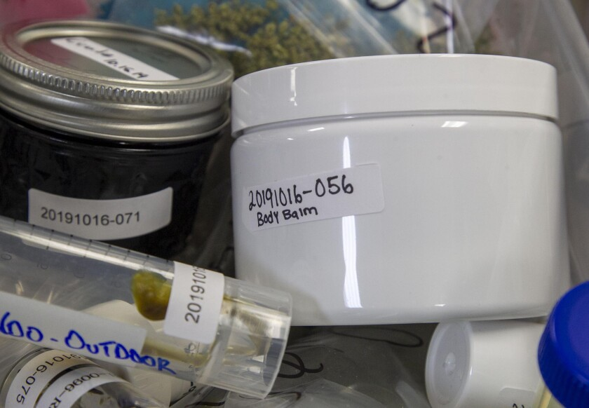 CBD products being tested at the Infinite Chemical Analysis Labs.