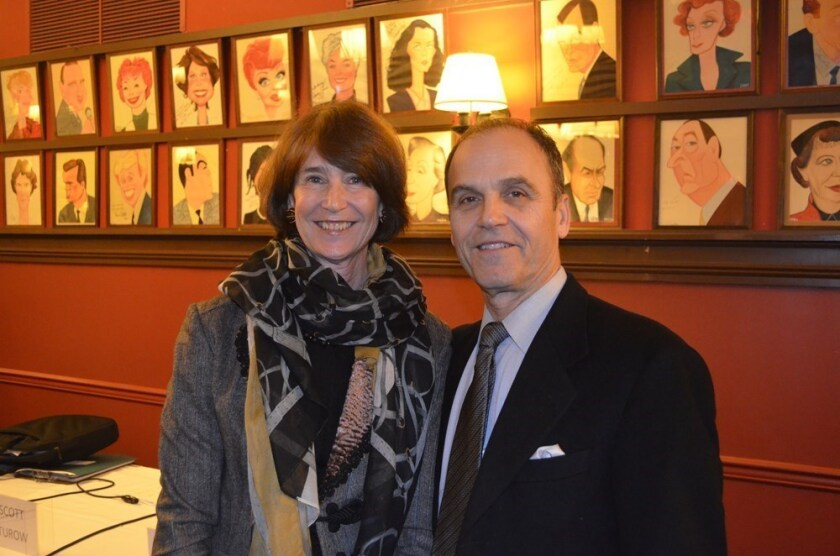 Roxana Robinson, incoming president of the Authors Guild, with its outgoing president Scott Turow.