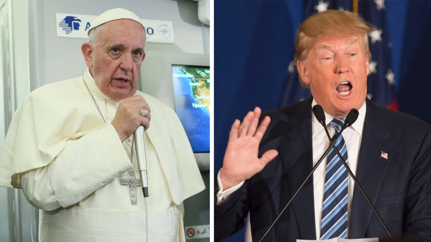 """At left, Pope Francis meets journalists aboard the plane during the flight from Ciudad Juarez, Mexico, to Rome. He made comments suggesting Donald Trump, right, is """"not Christian"""" if he wants to build a wall along the U.S. and Mexican border."""