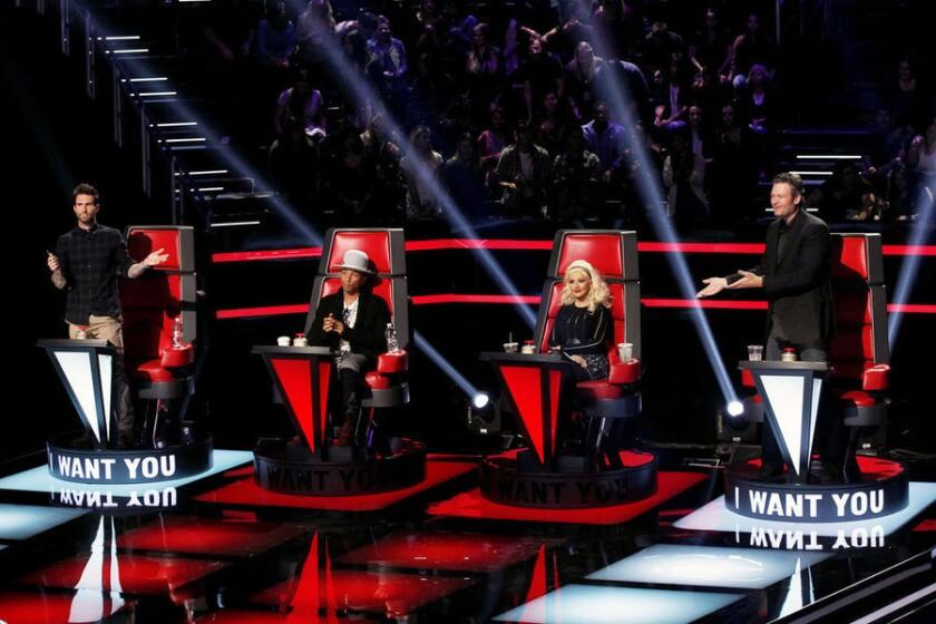 "Adam Levine, Pharrell Williams, Christina Aguilera and Blake Shelton in the premiere of Season 8 of ""The Voice."""