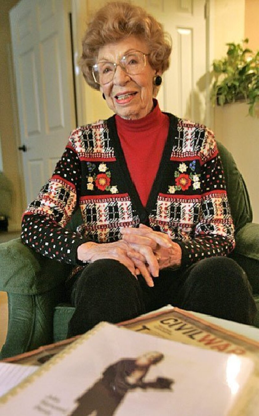 Stella Mae Case,  90, displayed a  biography of her  father, John  Harwood Pierce,  and other  memorabilia at  her Rancho San  Diego home.  Pierce, a veteran  of the Civil War  who led an  unusual life  spanning five  marriages and  several  professions, was  70 when Case  was bor