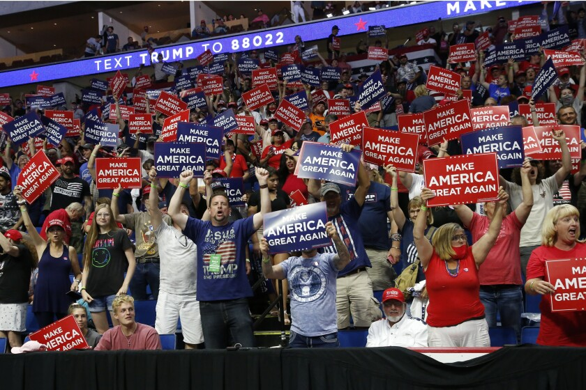 Supporters of President Trump at his rally June 20 in Tulsa, Okla.