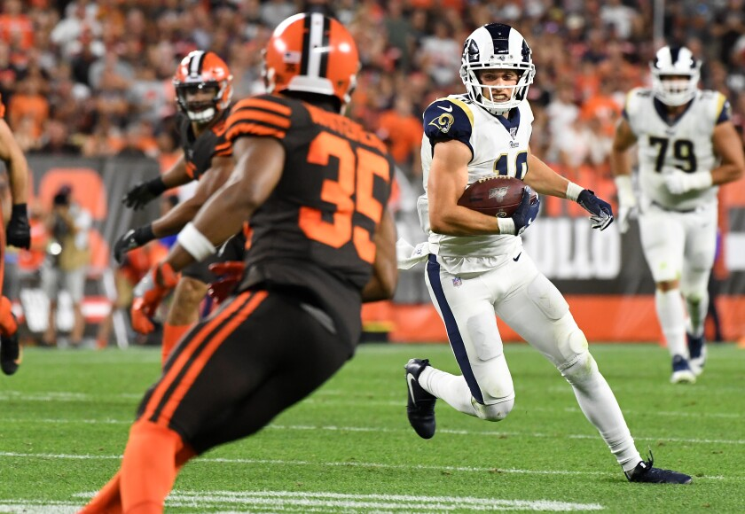 Rams wide receiver Cooper Kupp picks up yards against the Browns' defense during Sunday's 20-13 victory.