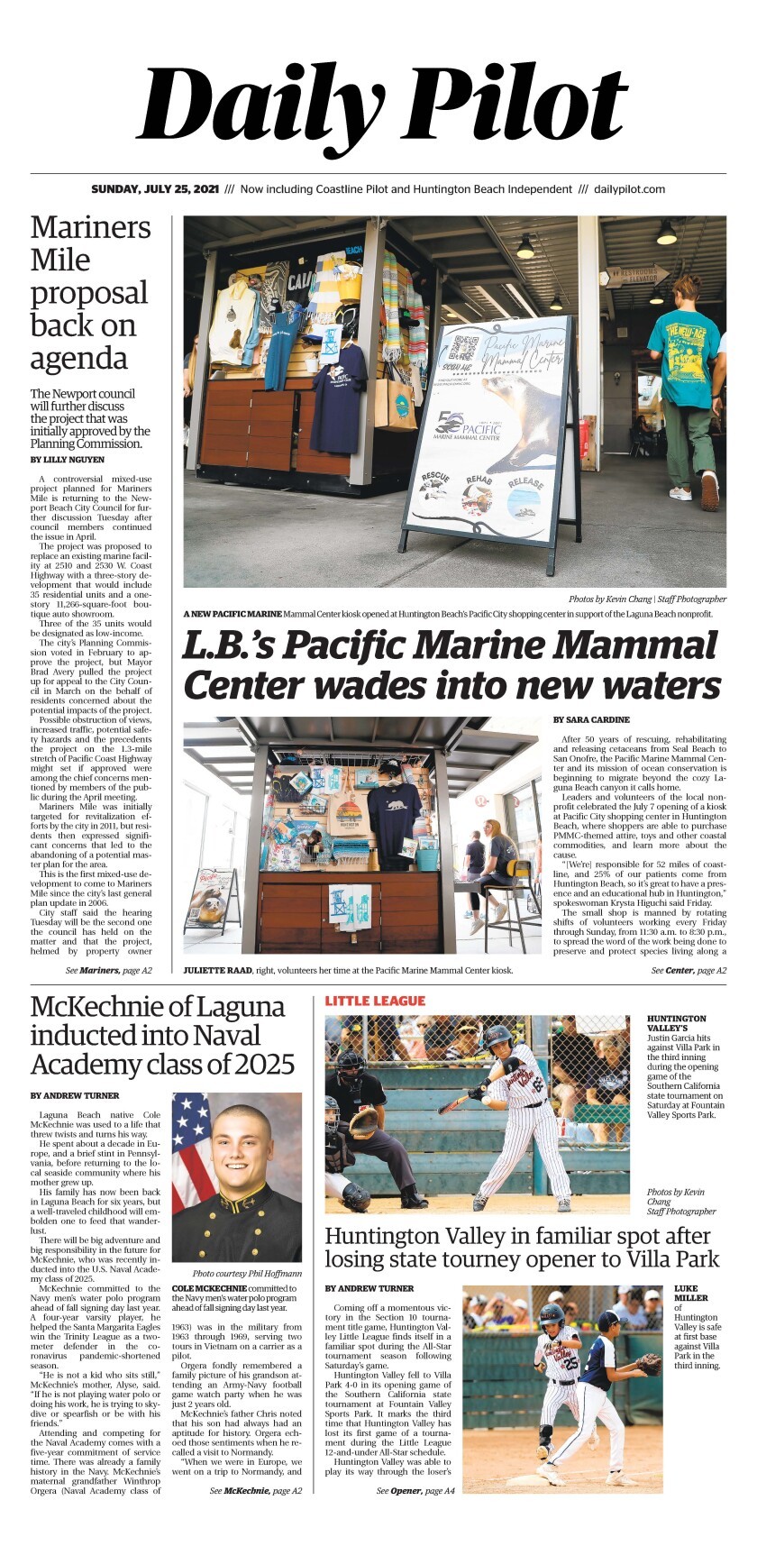 Front page of Daily Pilot e-newspaper for Sunday, July 25, 2021.