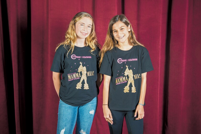 La Jolla's Muirlands Middle School students Calleigh LaMarche and Ellie Levine join J Company Youth Theatre's 'Mamma Mia!' cast.
