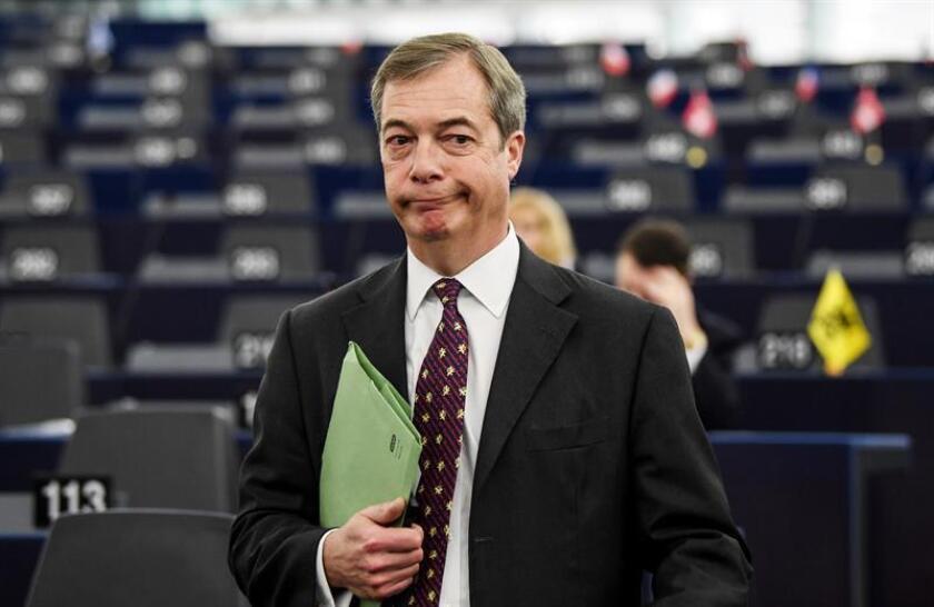 El europarlamentario británico Nigel Farage a su llegada al Parlamento Europeo en Estrasburgo (Francia), el 16 de diciembre de 2019. EFE/Archivo