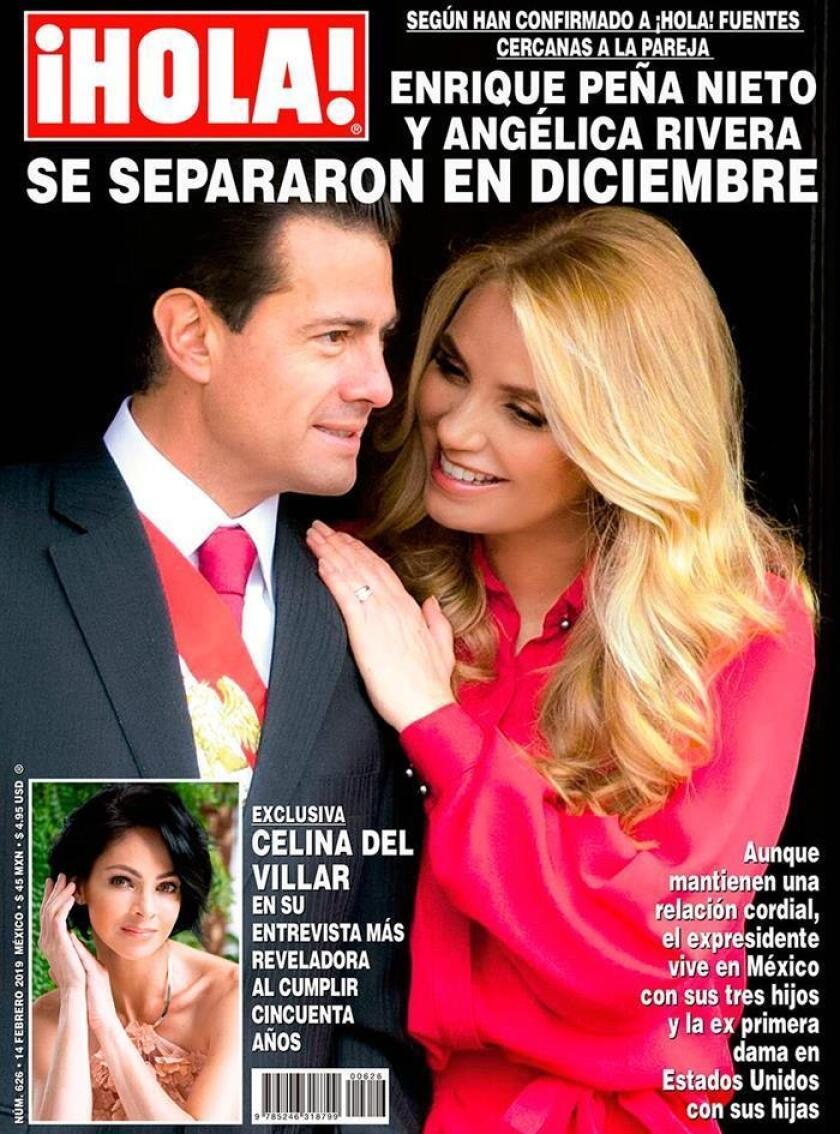 Courtesy photograph of ?HOLA ! magazine released on Feb. 7, 2019, showing on its cover former Mexican President Enrique Peña Nieto who appears accompanied by his wife Angelica Rivera. Peña Nieto separated from actress Angelica Rivera in December 2018, shortly after completing his term, according to information released Thursday by the magazine ??HOLA !. EPA-EFE / ?Hola! magazine / EDITORIAL USE ONLY / NO SALES
