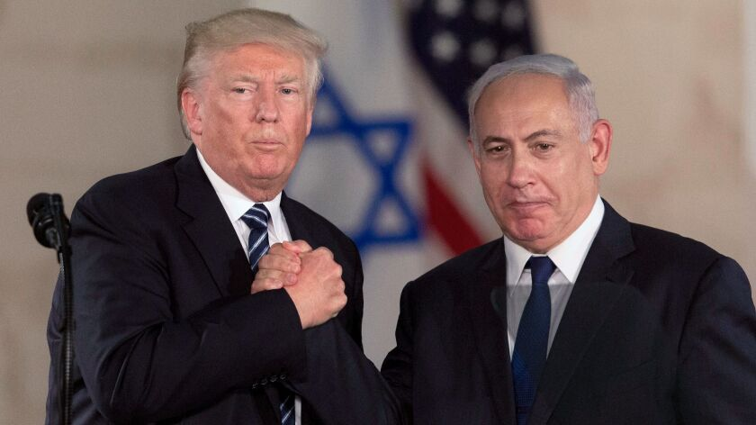 FILE - In this May 23, 2017, file photo, U.S. President Donald Trump and Israeli Prime Minister Benj