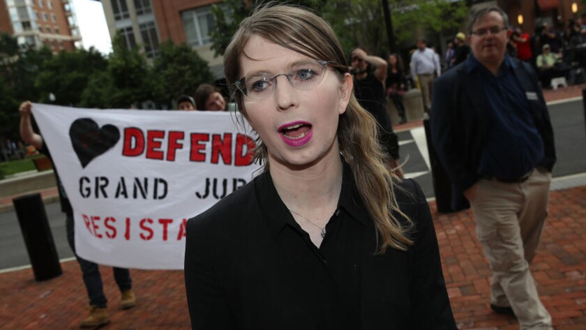 Chelsea Manning enters the federal courthouse in Alexandria, Va., on May 16.