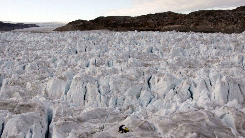 Helheim Glacier is one of several major glaciers in Greenland that has accelerated recently, contributing to the melt of the ice sheet and a rise in the sea level.