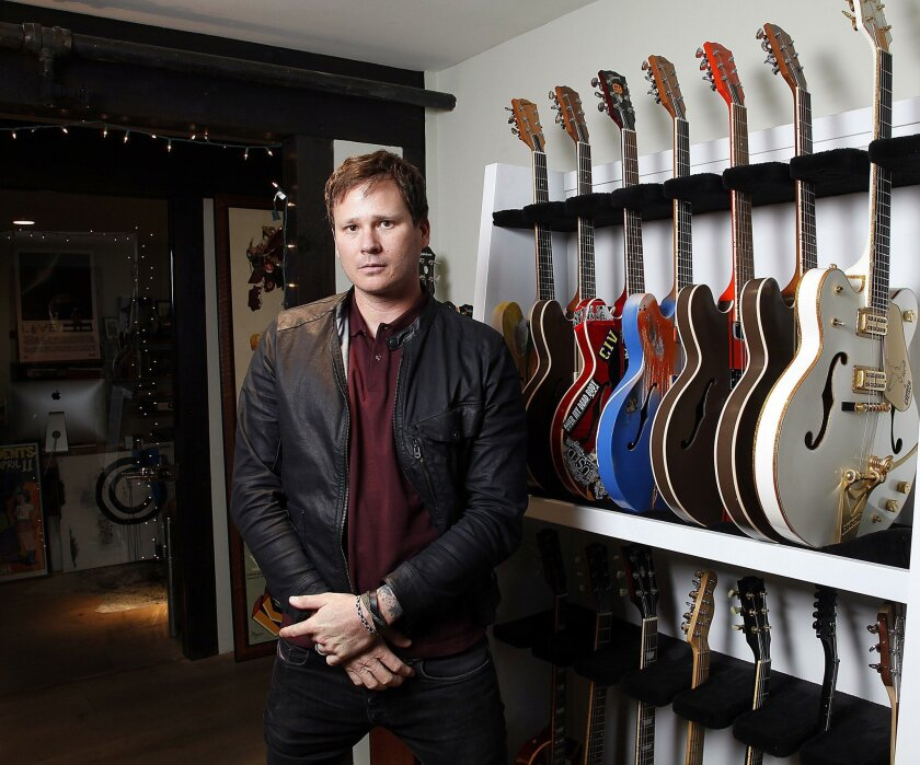 Carlsbad, CA_11/24/14_|Tom DeLonge  of Angels and Airwaves, posed for photos in the band's Carlsabd headquarters.| Mandatory Photo credit: John Gastaldo/U-T San Diego/Zuma Press