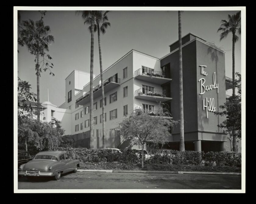 The Beverly Hills hotel in 1950, featuring an addition by architect Paul R. Williams.
