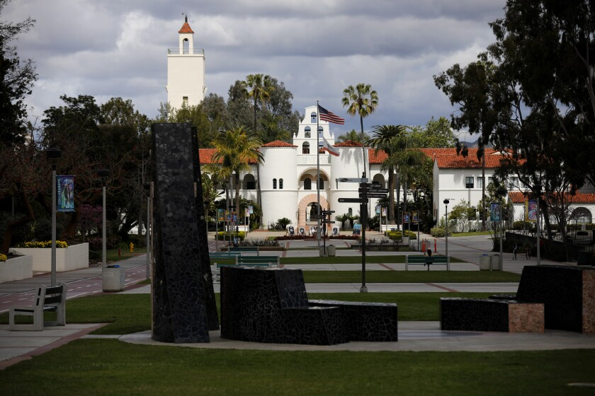 A view of Campanile Mall at San Diego State University in March 2020.