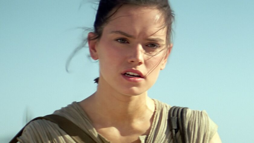 "Daisy Ridley as Rey in ""Star Wars: Episode VII The Force Awakens."""