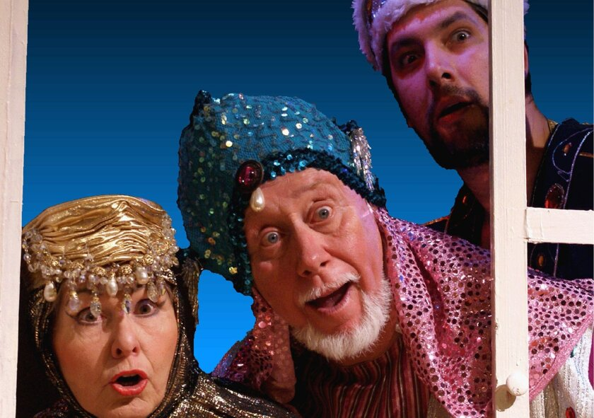 "Left to right: Balthazarina (Gail West), Gaspar (George Weinberg-Harter) and Melchoir (Chris Fonseca) in ""Emilia's Sugarplum Nightmare."""