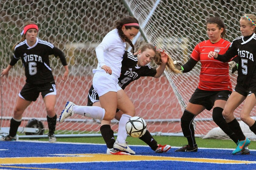 San Pasqual soccer player Julianne DeArmas (white uniform) recorded two hat tricks for the Eagles.