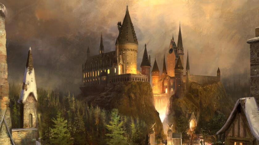 El castillo Hogwarts es una atracción clave del nuevo Mundo Mágico de Harry Potter de Universal Studios Hollywood, que abrirá el 7 de abril próximo. En la imagen, una representación realizada por un artista.