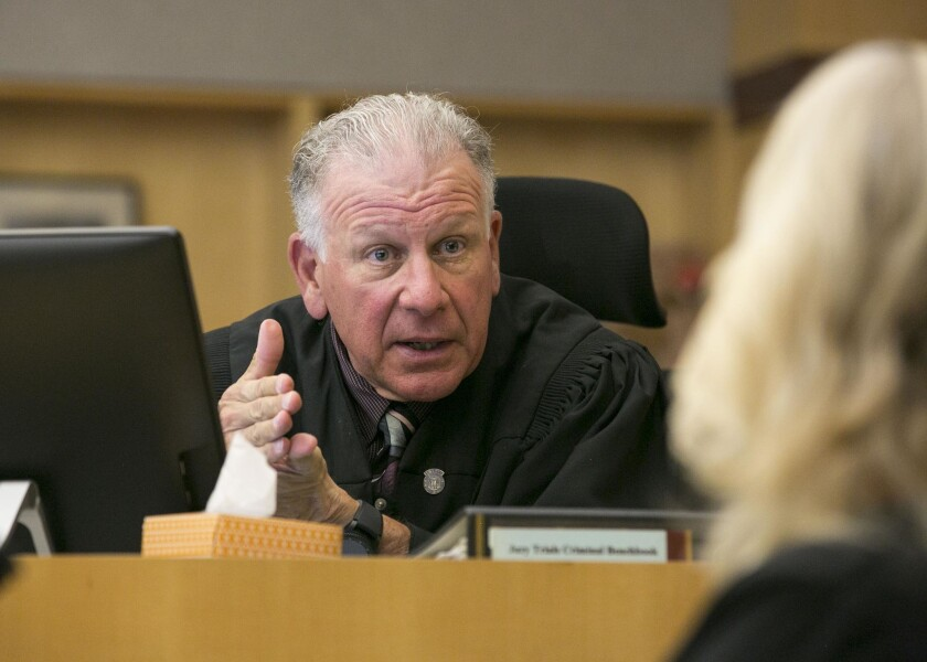 Judge Harry Elias on the bench in his courtroom