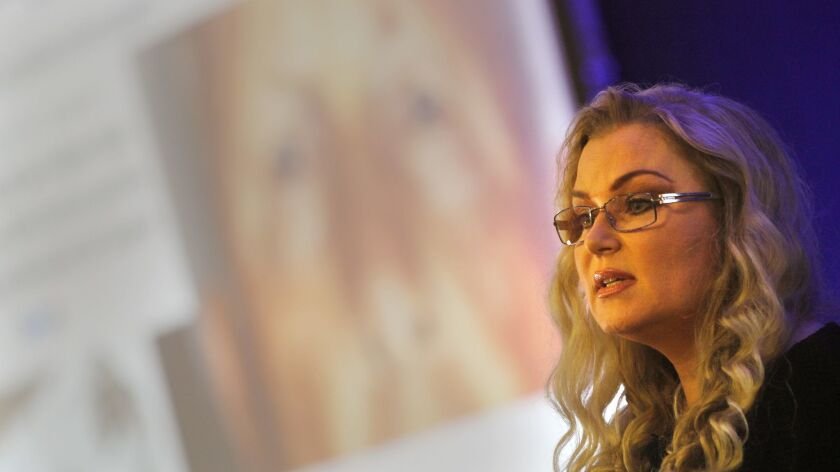 Genetic genealogist CeCe Moore at a conference in San Diego last month.