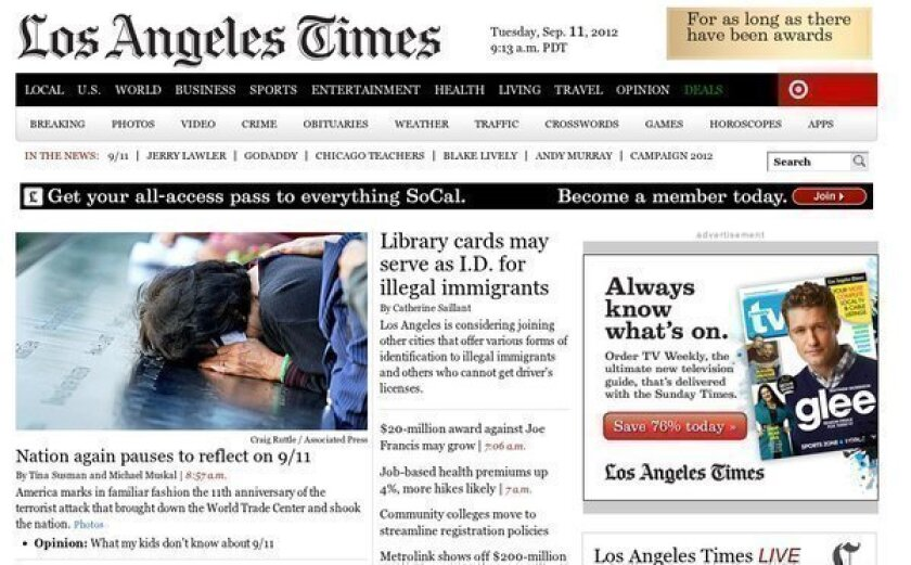 Home page of latimes.com.